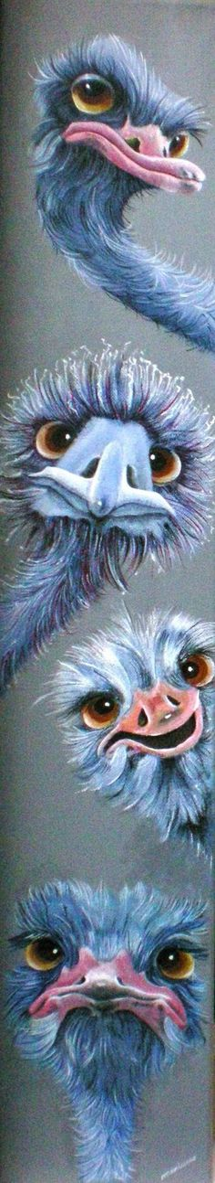 vrolijke dieren in acryl, op doek.