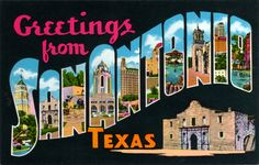 Greetings from San Antonio Texas antique postcard from the 1950s. Smith-Young Tower or Tower Life Building, the Alamo, The Spanish Governor's Palace, Randolph Air Force Base Building 100, Municipal Auditorium, the Japanese Tea Gardens, the River Walk, Mission Concepción, and more scenes from San Antonio inside this big letter card printed by Weiner News Co., Box 8176, San Antonio, Texas.