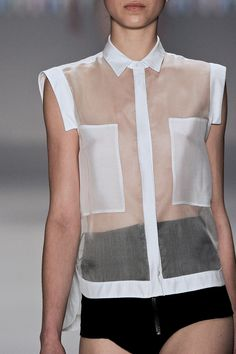 Transparency - sheer shirt with modesty panels; see-through fashion details // Ellus 2nd Floor SS14