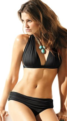 2f42b5ad9b Solid Black Shirred Halter Bikini by Badgley Halter Bikini