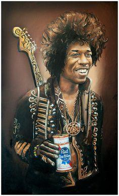 JEREMY WORST Jimi Hendrix 2012 Pabst Blue Ribbon Original Artwork Framed Print.