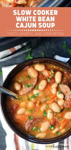 Craving a tasty, hearty bowl of comfort? Try this Crocktober recipe! Your family will fight over the leftovers of this Slow Cooker White Bean Cajun Soup. Loaded with beans, andouille sausage, veggies, and a flavorful broth, this cozy crock pot soup will warm you up!