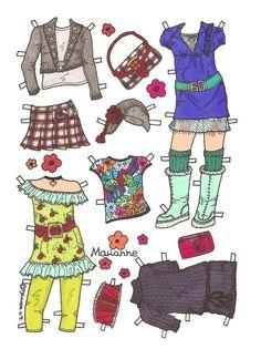 Karen`s Paper Dolls: Marianne 1-6 Paper Doll in Colours. Påklædningsdukke…