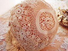 antique irish crochet baby bonnet detail ... c. 1910