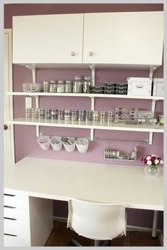 Beading craft room with Ikea desk, shelving and accessories.