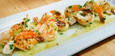 Scampi recipe from Geoffrey Zakarian via Food Network Omit breadcrumbs. Shrimp Dishes, Fish Dishes, Main Dishes, Restaurant Dishes, Restaurant Recipes, Shellfish Recipes, Seafood Recipes, Kitchen Recipes, Cooking Recipes
