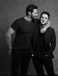 Hugh Jackman and Taron Egerton for Eddie the Eagle photoshoot