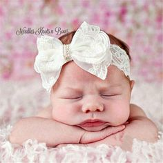This gorgeous white headband is sure to be a big hit with everyone with the dainty pearl embellishment in the center of the beautiful lace bow that is the perfect size to sit on top of your little princess's head. It is absolutley perfect to use at babies Baptism, Christening or other church eve... Floral Headbands, Newborn Headbands, Baby Girl Headbands, Christening Headband, Christening Gowns, Baby Girl Baptism, Baptism Dress, Baby Blessing Dress, White Headband