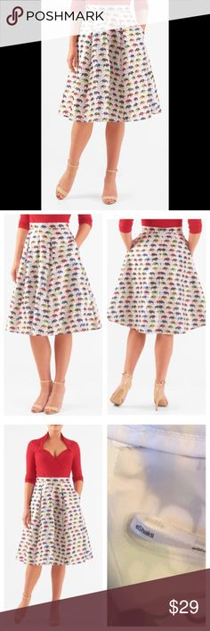 """New Eshakti Elephant Flared Skirt M 10 New Eshakti elephant print flared skirt. M 10 Measured flat: waist: 31"""" Length: 23 ½"""" Banded waist, back hidden zipper w/ hook & eye closure, stitched down pleated flared skirt w/ side seam pockets. Polyester, woven dupioni, high sheen, lightly textured slubs, no stretch, midweight. Dry clean. New w/ cut out Eshakti tag to prevent returning to Eshakti Skirts A-Line or Full"""
