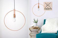 fabriquer une lampe suspension à partir de fil cuivre - design épuré et moderne