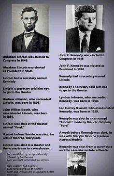 Abraham Lincoln and John F Kennedy.Could be a coincidence .I think Not History Teachers, History Facts, World History, Lincoln Kennedy, John F Kennedy, American Presidents, Us Presidents, Canadian History, American History