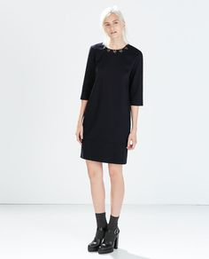 Image 1 of DENIM DRESS WITH APPLIQUES from Zara
