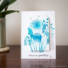 Gemma: Woodware Going to Seed; My Favorite Things Birthday Greetings sentiment stamp set; watercolor with Distress Inks; Card Making Tutorials, Card Making Techniques, Cool Cards, Diy Cards, Birthday Greetings, Birthday Cards, Pretty Pink Posh, Distress Ink, Creative Cards