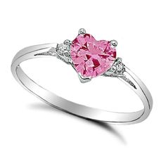 .925 Sterling Silver Ring size 3 CZ Heart cut Pink Midi Kids Ladies New x26 #Unbranded #SolitairewithAccents