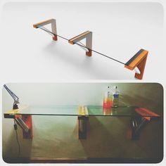 Diseño de mesa de estudio a partir de dos vidrios.  #madera #aluminio #vidrio #rapidobuenoybarato