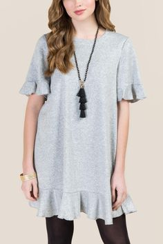 The Hadlee Ruffle Sleeve and Hem Dress features ruffle sleeves and hem Cos Outfit, Ruffle Sleeve, Gray Dress, Refashion, Cos Clothes, Winter Outfits, How To Look Better, Tunic Tops, Shirt Dress