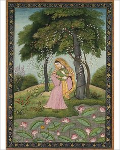 Fine Art Print-Virhini Nayika, Love-Torn Heroine , c. Creator: Fine Art Print on Paper made in the UK Mughal Miniature Paintings, Mughal Paintings, Indian Art Paintings, Krishna, Indian Folk Art, Cleveland Museum Of Art, Madhubani Painting, India Art, Traditional Paintings