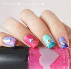 Will Paint Nails for Food: Perfect Pairings: Rainbow Honey Summer of 199X Tape Mani