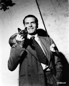 Laurence Olivier with cat  #famous #people #cats
