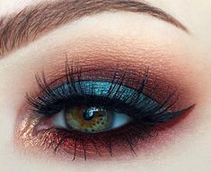 Teal and red/brown eye makeup