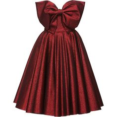 Lena Hoschek Red Carpet Bow Dress found on Polyvore featuring dresses, red, full skirt, red dress, red pleated dress, bow dress and red carpet dresses