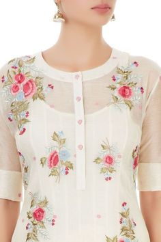 Shop PRAMA by Pratima Pandey White palazzo set with thread embroidery , Exclusive Indian Designer Latest Collections Available at Aza Fashions Salwar Designs, Churidar Neck Designs, Simple Kurti Designs, Kurta Neck Design, Kurta Designs Women, Kurti Designs Party Wear, Latest Kurti Designs, Neck Design For Kurtis, Neck Patterns For Kurtis