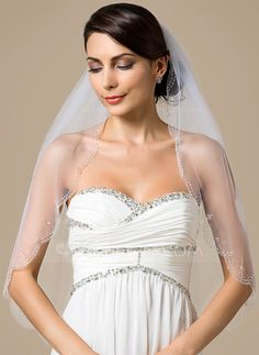 [US$ 22.89] One-tier Elbow Bridal Veils With Scalloped Edge/Beaded Edge