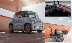 Citroen unveils Ami two-seat electric vehicle for the city | Daily Mail Online Small Electric Cars, Electric Vehicle, City Slickers, Sat Nav, Cheap Car Insurance, Geneva Motor Show, Smart Fortwo, City Car, Cheap Cars