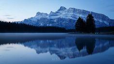"""Peace""  Two Jack Lake in Banff just before dawn.  #banff #banffnationalpark #alberta #travelalberta #parkscanada #ohcanada #canada #imagesofcanada #wildlycreative #mybanff #canadianrockies #rockies #rundle #mtrundle #twojack #twojacklake #lake #reflection #sunrise #mountain #reflections #ic_landscapes"