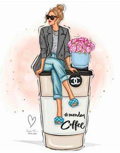 Fashion Artwork, Fashion Wall Art, Fashion Sketchbook, Fashion Sketches, Girly Drawings, Art Drawings, Art Chanel, Modelos Fashion, Black Love