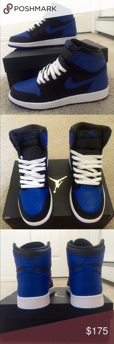 """Nike Air Jordan """"Royal"""" Laser 1 Also on eBay, Grailed, or OfferUp for ⬇️. Size 7Y Laser 1s  • CUSTOMIZED To resemble the Royal 1s • THESE ARE NOT FAKES!  • Brand New in the box  • The bottom will not chip. It is dyed, not painted  • Paint will not chip when worn • This is leather paint specialized for shoes • Retail for the sneaker is $140  • Please feel free to ask any questions Jordan Shoes Sneakers"""