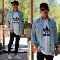 Clean summer look. White tee|denim shirt|black skinnies|stan smiths|sunnies