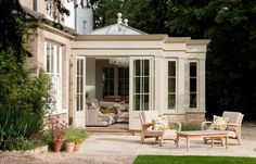 We design, manufacture and build bespoke timber and glass extensions, including garden room extensions, orangeries, conservatories and pool houses. Garden Room Extensions, House Extensions, Kitchen Extensions, Orangery Conservatory, Conservatory Ideas, Georgian Doors, Westbury Gardens, Sunroom Addition, Pool Houses