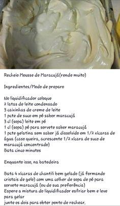 Recheio de mousse de maracujá Best Dessert Recipes, Fun Desserts, Dinner Recipes, Mousse, Sweet Life, Relleno, Cupcake Cakes, Food And Drink, Healthy Eating
