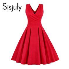 Sisjuly vintage women dress 1950s rockabilly fashion summer sleeveless red party festa dresses v neck bow vintage women dress