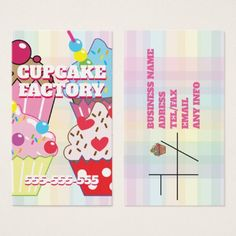 CUPCAKE FACTORY BUSINESS CARD - fancy gifts cool gift ideas unique special diy customize