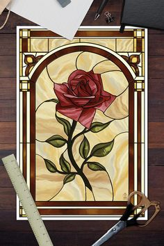Pasadena, California - Rose Stained Glass - Lantern Press Artwork (Art Print Available), Multi Faux Stained Glass, Stained Glass Patterns, Stained Glass Frames, Mosaic Patterns, Artwork Lighting, Antique Maps, Art Forms, Vintage Posters, Home Art