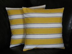 "Decorative Throw Pillows Set of Two 20x20 Pillow Shams 20"" pillowcase Yellow, White, Taupe LuLu Stripe & Dot. $33.00, via Etsy."