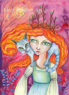 The Cat Woman - Art Print by LucyBrydonArt on Etsy