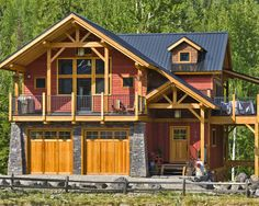 Love the look (no floor plan) Garage with living space. Garage House, Carriage House Garage, Dream Garage, Garage With Living Quarters, Garage To Living Space, Garage Apartment Plans, Garage Apartments, Cabin Homes, Log Homes