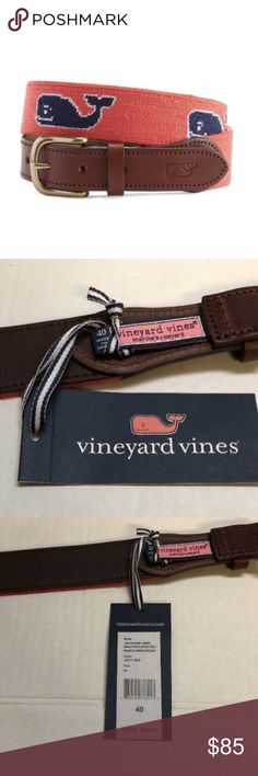 Vineyard Vines Whale Needlepoint Belt 40 NEW NWT NEW Vineyard Vines Mens Whale Needlepoint Belt Size 40 Jetty Red MSRP $145 NWT  FROM MANUFACTURE:  Nice threads! This handsome needlepoint men's belt will add panache to all your summer shorts and pants.  Fabrics: · 100% stitched Pima cotton on leather backing  Features: · Needlepoint whale · Featuring leather ends with an embossed whale  · Matte brass buckle · Imported   Care Instructions: · Spot clean  Item is NEW WITH TAGS condition ,  if…
