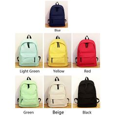 Fresh Pure Color Solid Rucksack School Bag For Girl Canvas Backpacks