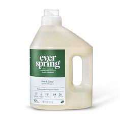 We believe a cleaner home begins with Everspring Concentrated 7-enzyme Detergent. It lifts and removes a variety of tough stains - for truly cleaner clothes that come out whiter and brighter, even in cold water. Tough on dirt, this hypoallergenic and biodegradable formula is non-toxic to humans when used as directed and never tested on animals. Our products are made with you, your home and family in mind.<br /><br />Packaging made with 50% post-consumer recycled plastic.<br /><br… Bottle Packaging, Soap Packaging, Cosmetic Packaging, Product Packaging, Liquid Laundry Detergent, Plastic Design, Dishwashing Liquid, Green Cleaning, Bottle Design