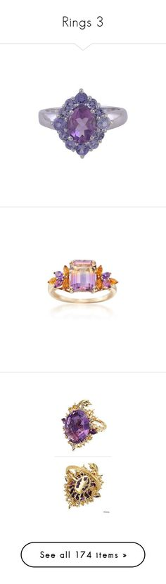 """""""Rings 3"""" by thesassystewart on Polyvore featuring jewelry, rings, silver tone, toplevelcatrings, purple amethyst ring, cocktail rings, handcrafted rings, tanzanite rings, purple cocktail ring and yellow gold"""
