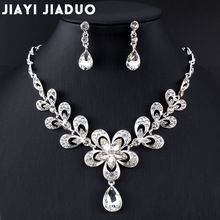 jiayijiaduo Necklace Earrings set of Bridal Jewelry Sets for Wedding  Accessories Women crystal necklace set party 8ccd6309fb68