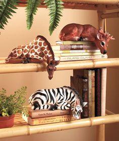safari shelf sitters at 9each the giraffe and zebra would cute in atlantas - Safari Decor
