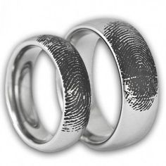 Couples Custom Engraved Tungsten Fingerprint Rings His and Hers Matching Wedding Bands Personalized Also Available in Gold Rose Gold Color on Etsy 189 99 Big Wedding Rings, Matching Wedding Bands, Wedding Matches, Wedding Finger, Fingerprint Wedding, Fingerprint Ring, Ring Ring, Wedding Band Engraving, Couple Rings