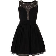 **Elisha Prom Dress by TFNC (110 BRL) ❤ liked on Polyvore featuring dresses, vestidos, robes, short dresses, black, pleated dress, black cocktail dresses, black dress, mini dress and pleated mini dress
