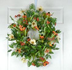 Summer Wreath for Front Door  Summer Door by GaslightFloralDesign
