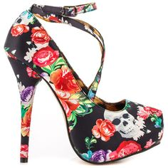 I NEED these in my life! :Let your heart fall for the Roaming Heart Platform by Iron Fist. This edgy yet flirty style consists of crossing straps and 1 inch platform. A 5 inch heel and upper is draped with a floral fabric. Iron Fist, Sexy High Heels, Womens High Heels, Stiletto Heels, Shoes Heels, Flats, Italian Shoes, Pumps, Sexy Boots